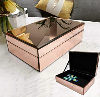 meetart Mirror Jewelry Box Champagne Rose Gold, Jewelry Storage Organizer, high-end Luxury Small Jewelry Box