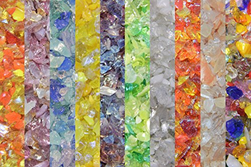 Devardi Glass Lampwork, COE 104 Glass Frit - Mixed Frit Shades Sampler - 10 one ounce samples