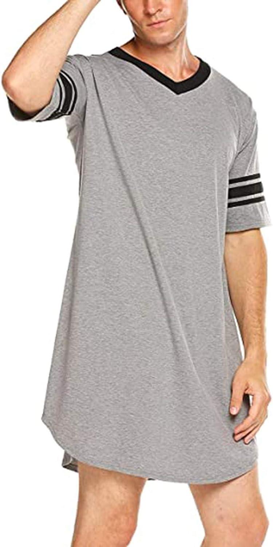 7789 Men's Casual Nightgown Shirt V Neck Half Sleeve Loose Long Pajamas Contrast Color Sleepwear for Men