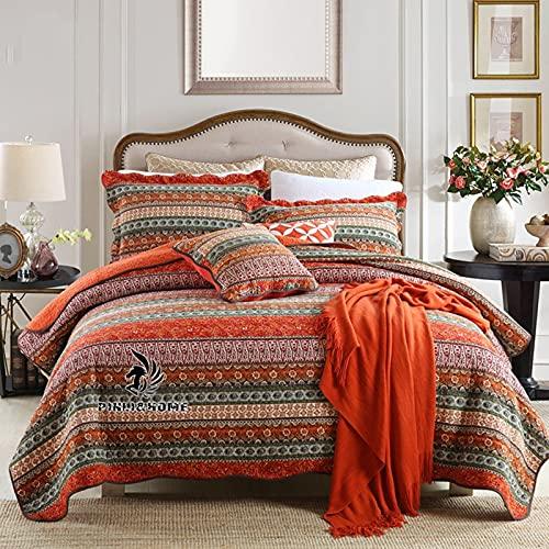 Bomullssängklädsel Set-andningsbar sängfilt-blommig quiltad sängöverdrag Klassisk design hela säsongen, sängöverdrag Lätt sängkläder, imiterad lapptryckssäng i tre delar,Red