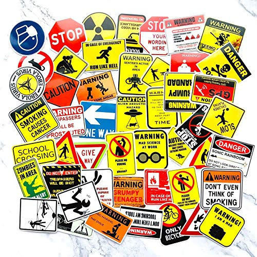 ZXXC 50 Pcs Signs Stickers Danger Warning Banning Reminder Decor Sticker To Diy Car Laptop Motorcycle Suitcase Fridge Guitar Notebook