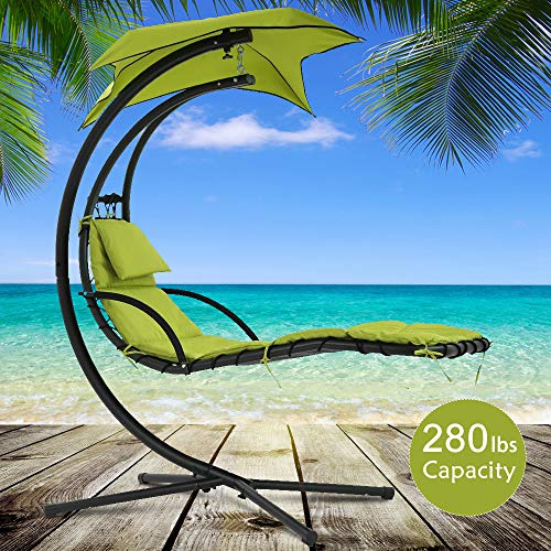 Best Home Product Heavy Duty Hanging Chair Chaise Hammock Chair Stand Patio Porch Swing Chair Outdoor & Indoor Durable Arc Stand Air Porch Chaise Lounger with Canopy and Pillow 280 LBS Capacity