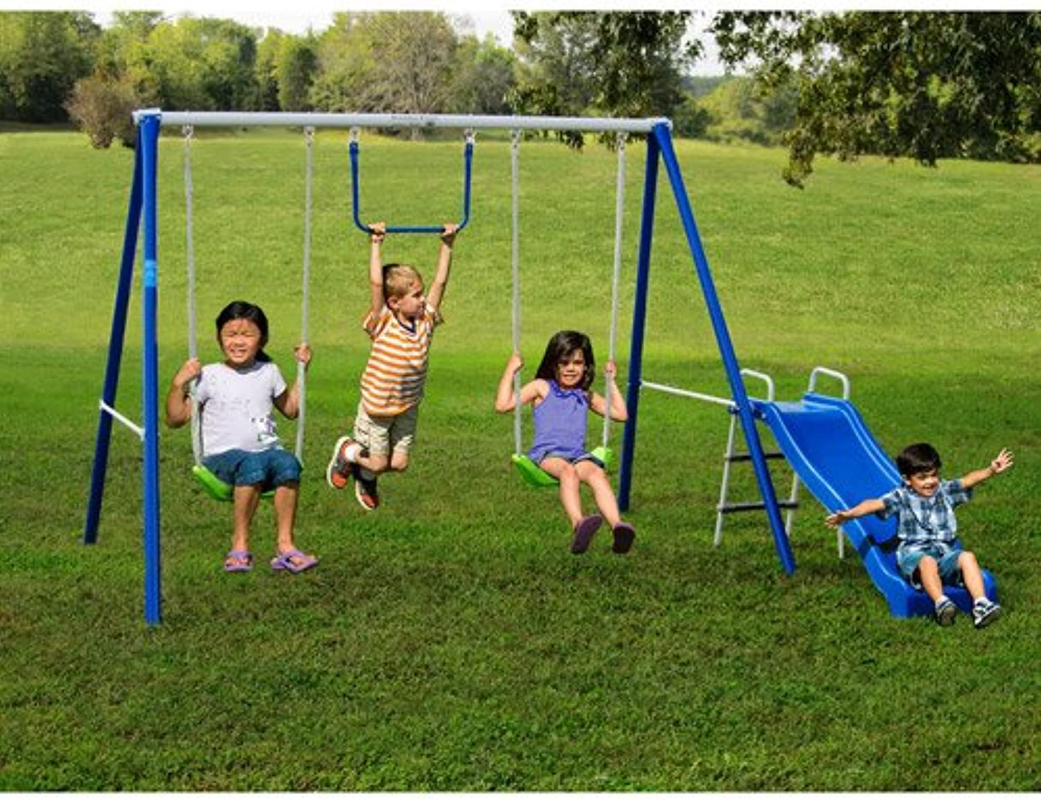 Metal Swing Sets with Slide For Kids 2-12 y.o. Outdoor Fun Play, Backyard Playground Equipment Kit on Sale Clearance by Flexible Flyer by Flexible Flyer