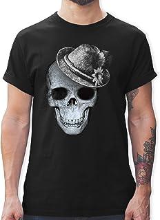 Shirtracer Oktoberfest & Wiesn Herren - Totenkopf mit Filzhut - Tshirt Herren und Männer T-Shirts