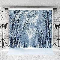HD5x7ft雪の森の背景冬の雪景色の写真の背景白い雪の写真の背景スタジオの小道具