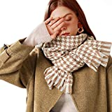 Ruixiang Super Soft Houndstooth Scarf Luxurious Cashmere Feel Winter Scarf For Women Blanket Chunky Oversized Scarves Wrap Shawl (Khaki)