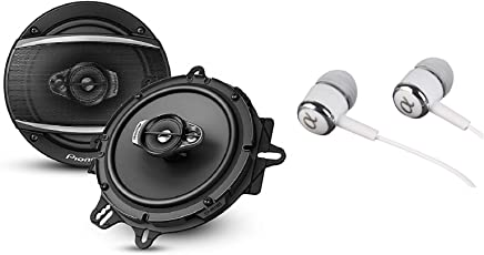 """Pioneer A Series 6.5"""" 320 Watts Max 3-Way Car Speakers Pair with Fiber Cone Midrange and 6-1/2"""" Multi-Fit Installation Adapters Included w/Free ALPHASONIK Earbuds"""