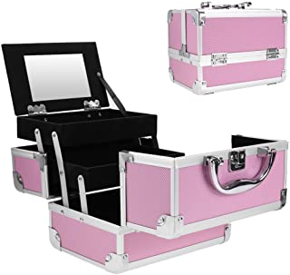 Binxin Professional Mini Makeup Train Case - Cosmetic Box with Adjustable Dividers - 3 Extendable Trays Aluminum Make Up Artist Organizer Kit With Mirror(L8 x W6)