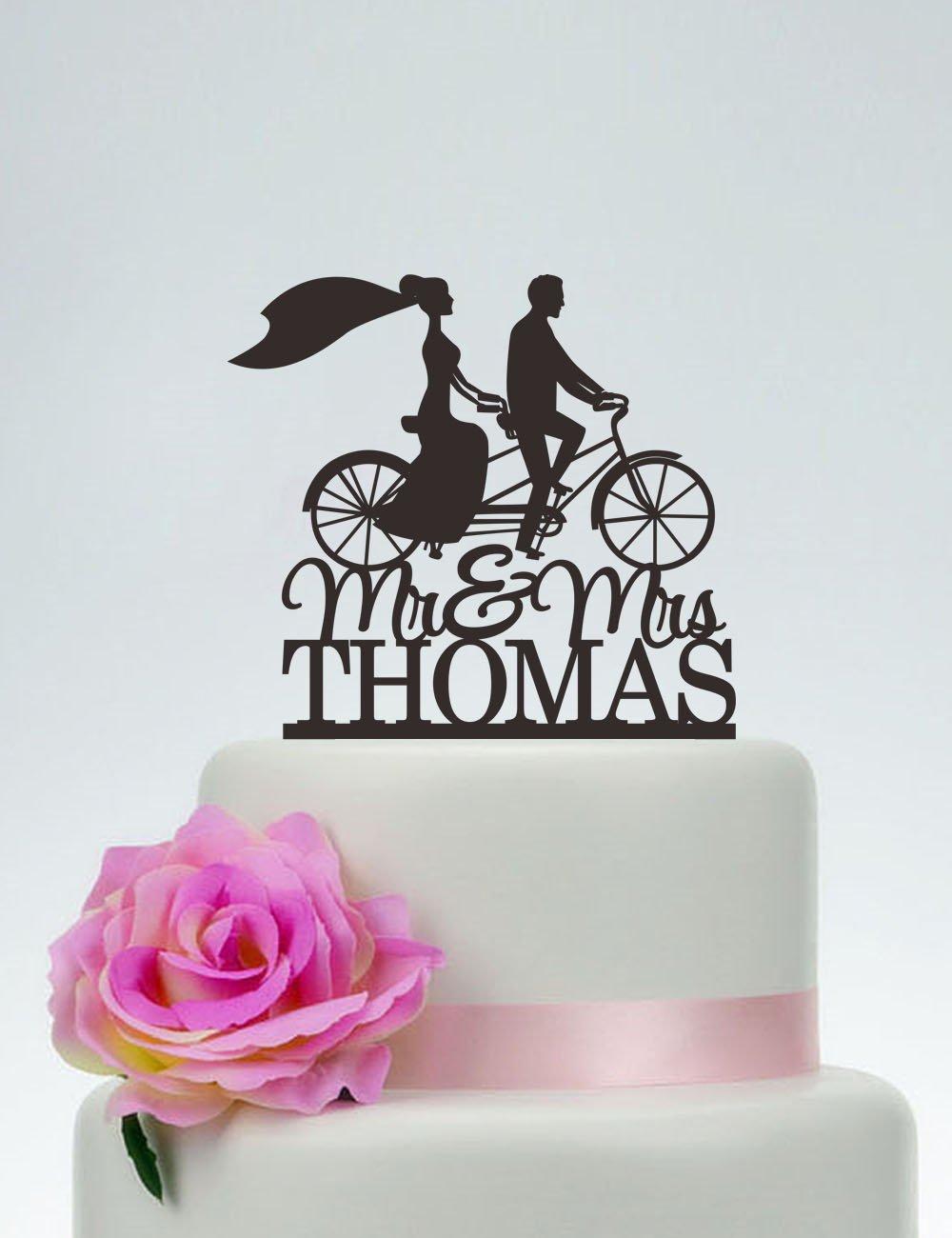 Decoración para tarta de bicicleta de boda, personalizada con el último nombre, decoración para tarta de boda, novia y novio, siluetas en bicicleta, silueta para tarta de bicicleta: Amazon.es: Hogar