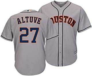 Outerstuff Jose Altuve Houston Astros #27 Gray Youth Cool Base Road Replica Jersey