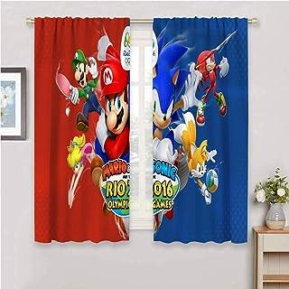 Zmcongz Cortinas sónicas oscuras para dormitorio de tela impermeable Sonic The Hedgehog Sega Video Games W108 x L84 pulgad...