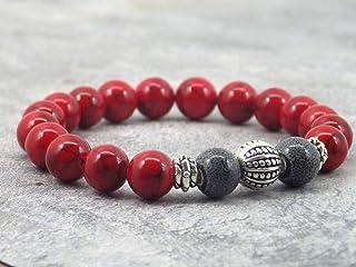 Bracciale da uomo in perle di turchese rosso ricostituito, perle di porcellana colorate e perle tibetane.