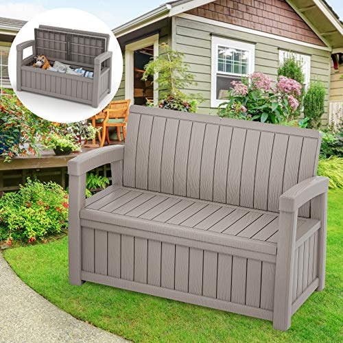 Cozy Castle Outdoor Storage Bench, 184L/49Gal Resin Outdoor Storage Deck Box Bench, Large Patio Storage Loveseat, Outdoor Storage Seating Furniture for Garden & Yard, Holds up to 500lbs