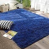 Amangel Navy Blue Ultra Soft Fluffy Rugs for Bedroom Living Room, 4' x 5.3', Furry Throw Area Rugs for Kids Girls Boys Room, Plush Shag Rug for Nursery Dorm, Non-Slip Shaggy Modern Decorative Carpet