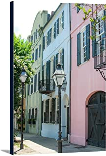 Charleston, South Carolina - Rainbow Row - Photography A-93110 (16x24 Gallery Wrapped Stretched Canvas)