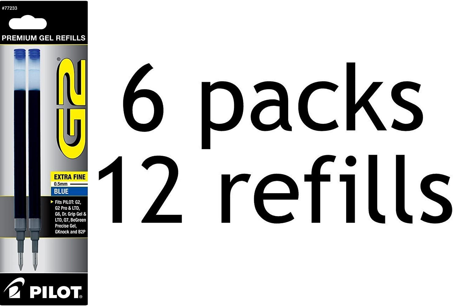 Large special price Value Pack of 6 - Pilot G2 Rolling 2-Pack Ba Refill Ink Superior for Gel
