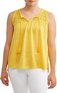 Thyme & Honey Women's Lace Trim Peasant Tank Top