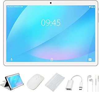 YESTEL X7 Plata Tablet 10 Pulgadas Android 8.1 Tablets 4GB RAM + 64GB ROM + Expandido 128G Dual SIM LTE/WiFi 8000mAh Batería con Mouse y Teclado