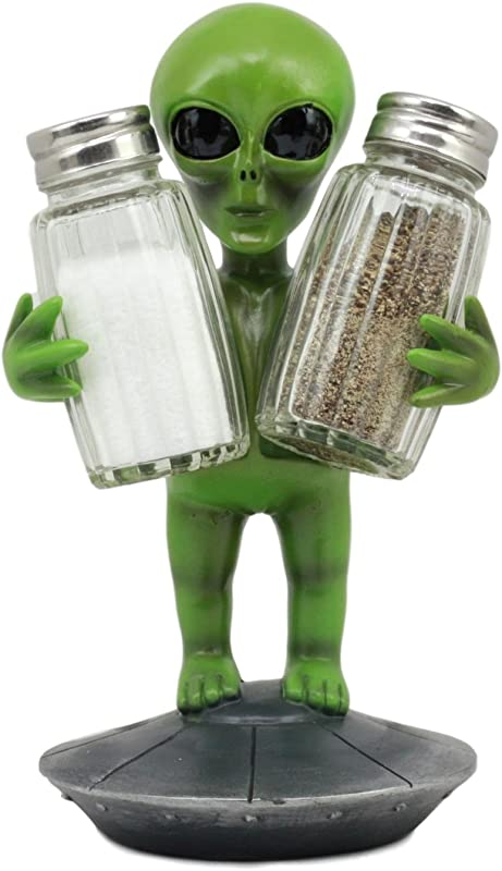 Ebros UFO Outer Space Colony Extra Terrestrial Green Roswell Alien On Flying Saucer Spaceship Salt And Pepper Shakers Holder Statue 7 Tall For Kitchen Decor Event Hosting Chef Hobbyist