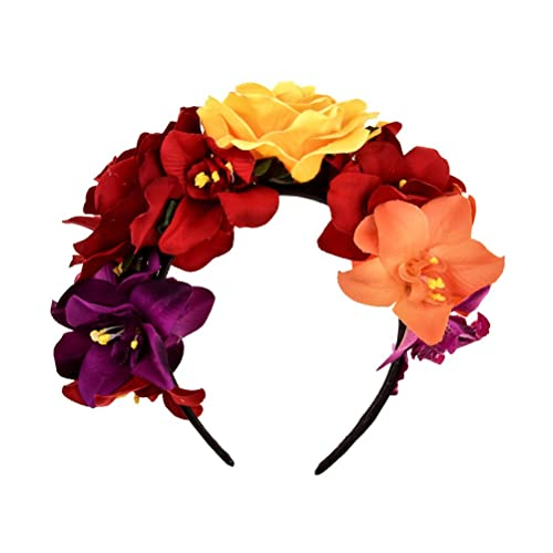 BESTOYARD Bohemia Floral Headband Rose Flower Crown Mexican Headpiece for  Beach Party Vacation Photography 32b2c8d8305