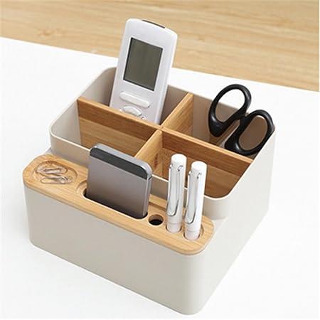 Boîtes de rangement de bureau, boîte de rangement en bois de bureau de papeterie de bureau, bureau détachable de porte-crayons de bureau polyvalent fournitures de bureau organisateur/collection