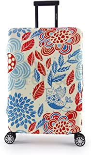 Periea Elasticated Suitcase Luggage Cover - 13 Different Designs - Small, Medium or Large (Red & Blue Leaves, Large)