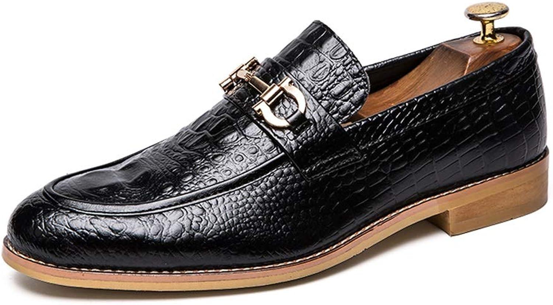 YJiaJu Herren Business Oxford Trendy Trendy Trendy Business Herren Müßiggänger Bequemer Slip On Metal Buckle Dekoration Krokodil-Laufsohle (Farbe   Schwarz, Größe   46 EU)  fdb956