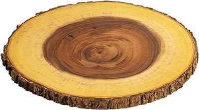 Villa Acacia Live Edge Wood Farmhouse Serving Platter 12 Inch, Natural and Organic Raw Bark Edge, Single, Large