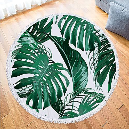 IcosaMro Round Beach Towel Tropical Microfiber Beach Blanket Palm Leaves Large Roundie Lightweight Beach Towel for Kids Women Men Boy Girl, 59 Inches, Green
