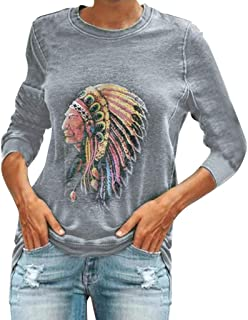 NANTE Top Native American Indian Headdress Print T Shirt Long Sleeve Sweatshirt Loose Tops Women's Blouse Ladies Clothing Clothes