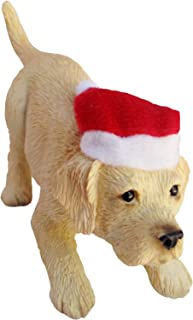 Sandicast Yellow Labrador Retriever with Santa Hat Christmas Ornament