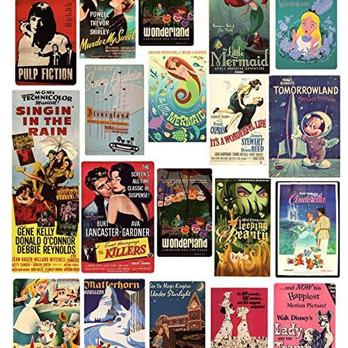 Dotiow Retro-Poster-Aufkleber-Set, Vintage-inspiriert, Pinup-Filme, Collage, Scrapbook Gepäck, Laptop, Aufkleber, Auto, Skateboard, Motorrad, Fahrrad, Wasserflasche, Vinyl-Aufkleber (46 Stück)