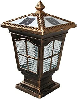 Energy Saving Solar LED Post Lamp European Retro Villa Decorative Pillar Lantern IP55 Outdoor Waterproof Aluminum Alloy Street Light with Transparent Glass Lampshade (Color : B)