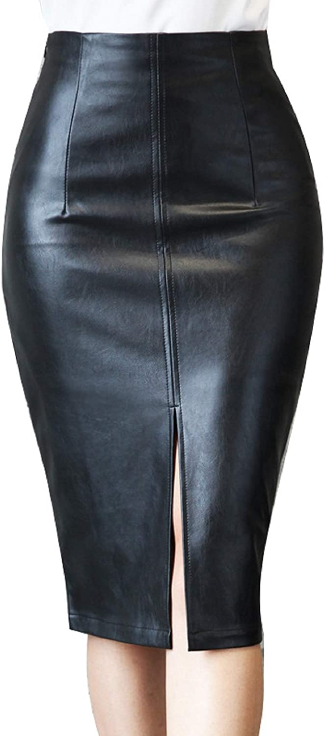 CHARTOU Women's Office Work Packaged Hip Slit PU Leather Midi Pencil Skirt