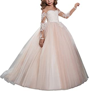 Abaowedding Lace Embroidery Sheer Long Sleeves Kids Trailing Gowns