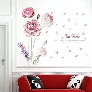 ملصقات الحائط YISUNF الإبداعية الوردي روز رومانسية غرفة النوم، ملصق الحائط ديكور المنزل قابل للإزالة