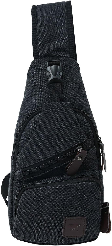 Canvas Chest Pack Crossbody Casual Sling Shoulder Bag(502) (black)