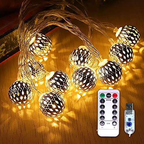 otutun Guirnalda Luces , 3m 20 LED Impermeable Cadena de Luces 8 Modos con Control Remoto , Luces Led USB para Decorativas,Navidad, Habitacion, Fiesta, Jardín, Bodas [Clase de eficiencia energética A]