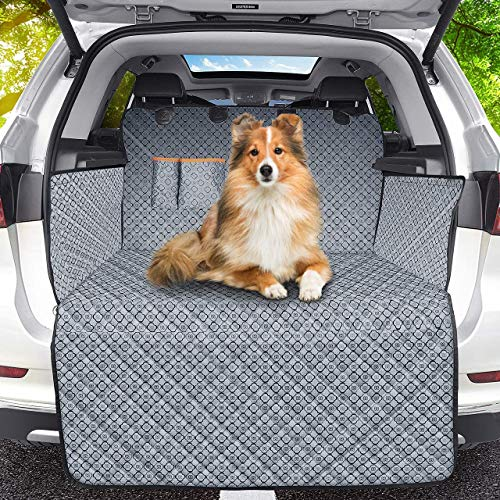 FOGIMO Telo Auto per Cani, 100% Impermeabile e Antiscivolo Protezione Bagagliaio Auto per Cani Copertura Bagagliaio Auto Catione Tessuto Fantasia Universale Portabagagli, Facile da Pulire