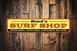 PotteLove Surf Shop Sign, Personalized Skateboard Surfers Surfboard Shop Name Sign, Custom Metal Beach House Decor - Quality Aluminum Shop Decoration, Metal Signs Tin Plaque Wall Art Poster 18