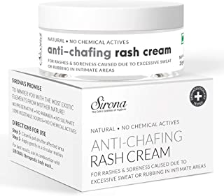 Sirona Natural Rash Cream - 25gm | For Chafing Due to Sanitary Pads, Heavy Thighs, Sports Activities, Waxing and Gymming