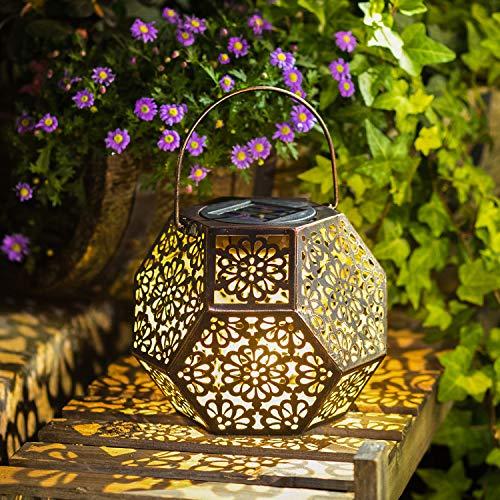 Solar Lantern Hanging Garden Outdoor Lights Metal Waterproof LED Table Lamp