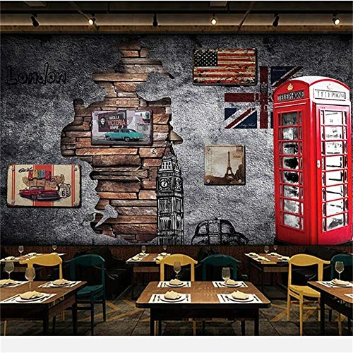 Wallpaper Mural 3D Mural Europa y Estados Unidos Retro Nostalgia Londres Cabina telefónica Cafetería Wallpper, 250 * 175 cm
