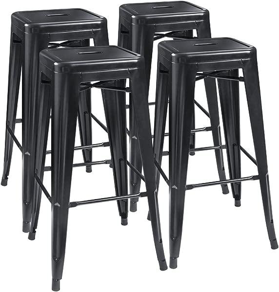 Furmax 30 英寸金属吧台凳子高无靠背凳子室内室外可叠放凳子一套 4 个黑色