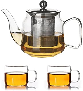 Teapots Glass Teapot High Temperature Flower Tea Filter Foam Teapot Elegant Cup Stainless Steel Liner Thickened Red Teapot (teapot + 2 Cups) Tea pot (Color : 420ml)