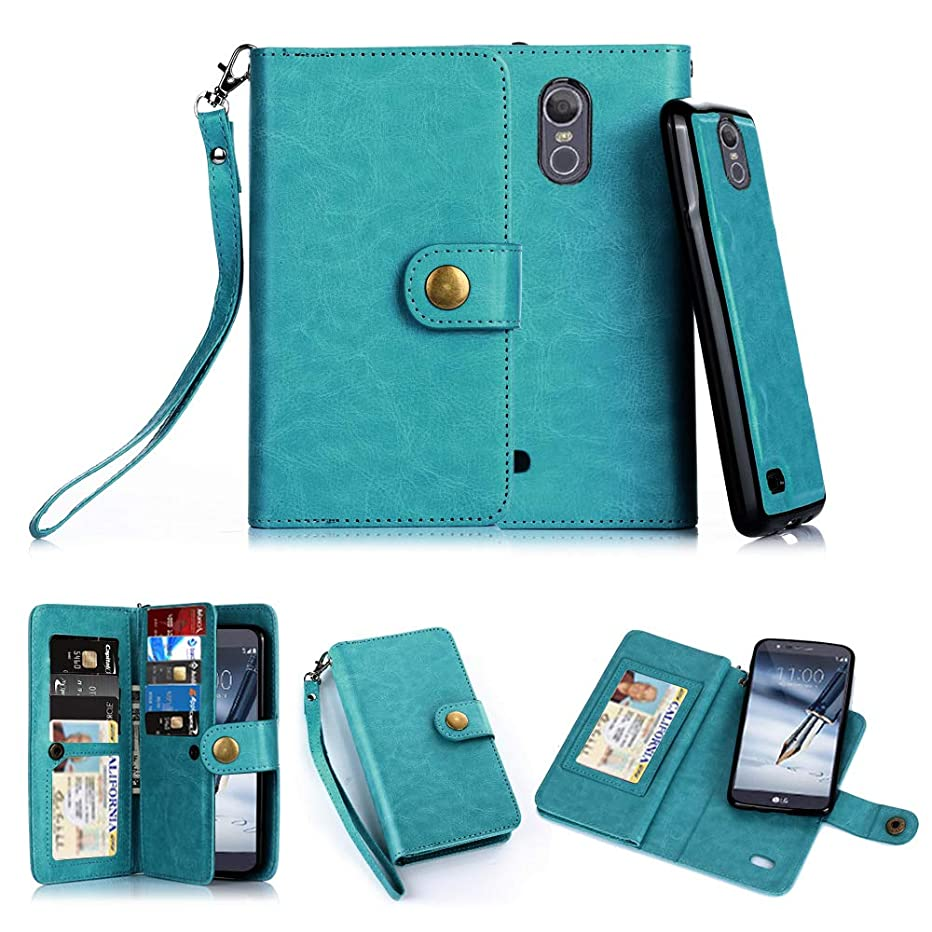 TabPow LG Stylo 3 Case, 10 Card Slot - ID Slot, Button Wallet Folio PU Leather Case Cover With Detachable Magnetic Hard Case For LG Stylo 3/ LG Stylo 3 Plus -Turquoise Blue