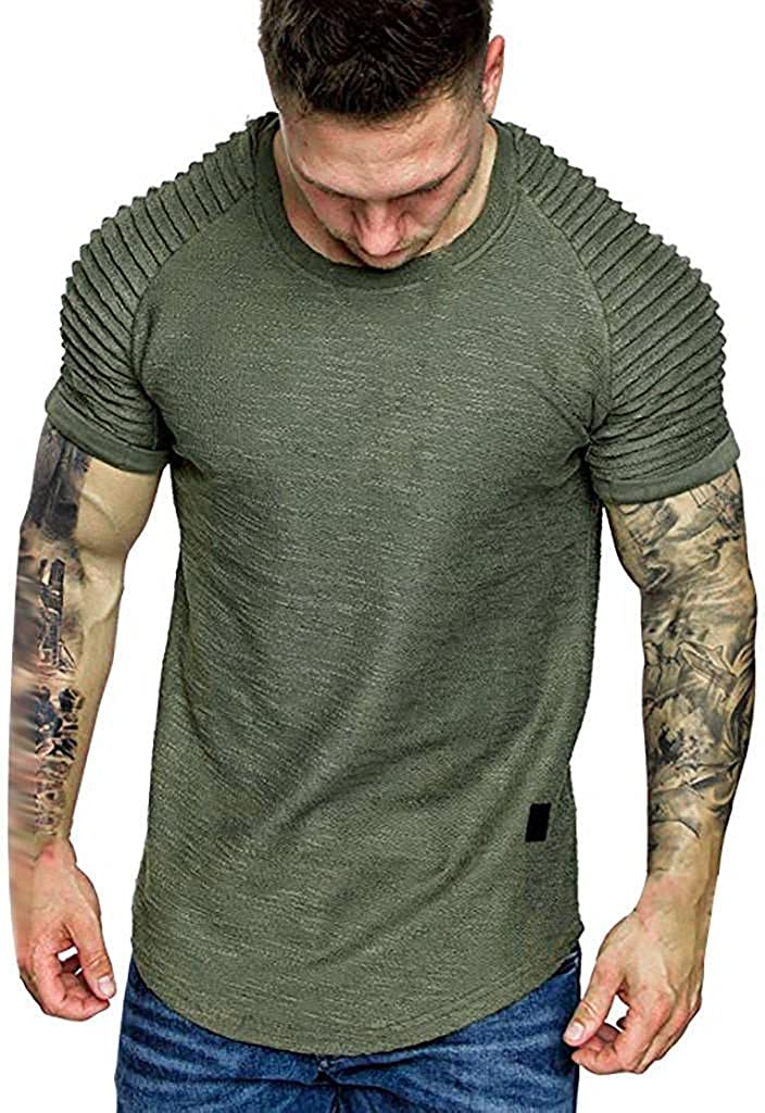 Athletic Muscle Top for Mens Casual Sports Gym Short Sleeve Round Neck T-Shirts