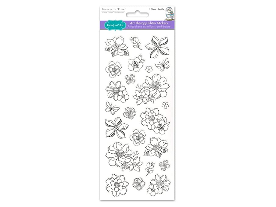 Living In Color  Paper Craft Stickers Art Therapy with Glitter, 4in x 9in, color your own stickers, Flowers