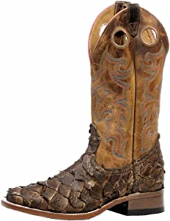 American Boots - Exotic Cowboy Boots (Pirarucu) BO-4536-65-E (Normal Walking) - Men - Brown