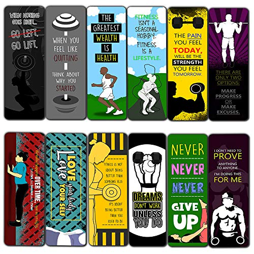 Creanoso Fitness Sayings Bookmarks (12-Pack) – Unique Bookmarker for Body Builders, Fitness Athletes, Men, Women, Professionals – Book Page Clipper Assorted Bulk Set – Great Giveaways Gift Ideas